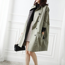 Female new autumn and spring oversized outerwear neckline beaded elastic high -waist A-line loose