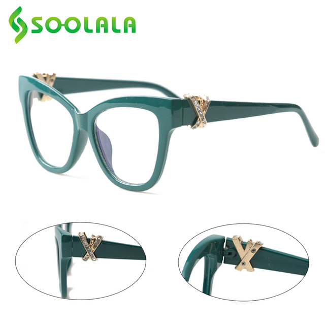 SOOLALA Cat okulary do czytania kobiety z skrzyżowanymi Rhinestone duże oprawki do okularów Lesebrille Reader okulary na receptę 0.5 do 4.0