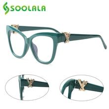 SOOLALA Katze Lesebrille Frauen mit Gekreuzte Strass Große Brillen Rahmen Lesebrille Reader Brillen 0,5 zu 4,0