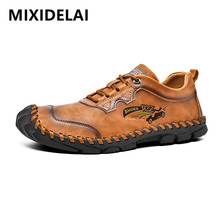 New Summer Soft Men's Casual Shoes Breathable Leather Handma