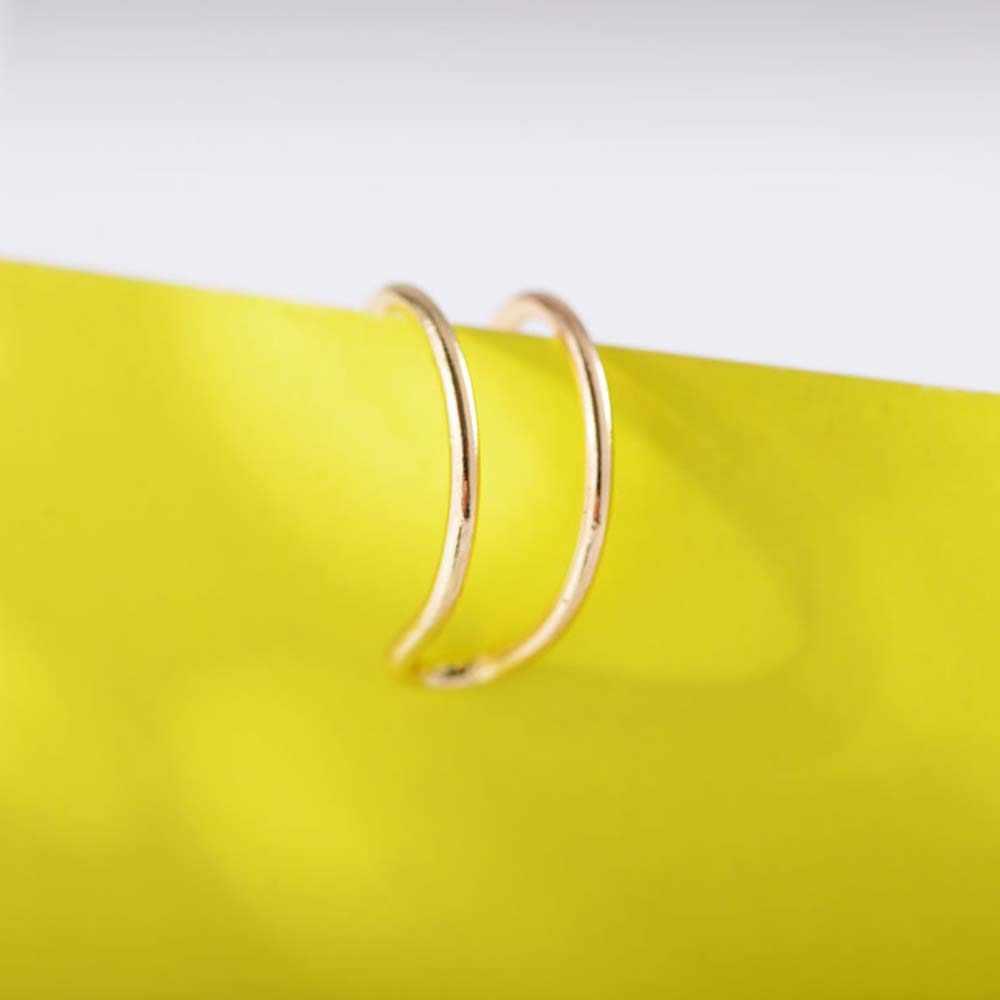 5/1pieces fashion Punk Rock Ear Pierced Ear Clips Simple Alloy Double C Cartilage Earrings Nose Clip Hollow jewelry