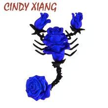 CINDY XIANG 2 Farben Erhältlich Große Emaille Rose Blume Broschen Skorpion Form Brosche Pins Für Frauen Lebendige Tier Pin Schmuck