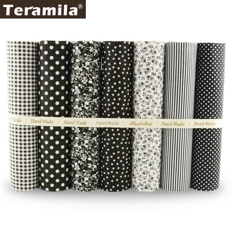 Teramila 7PCS Dark Color Series 100% Plain Cotton Fabric Charm Pack for DIY Quilting Patchwork Tecido Patchwork Telas Decoration