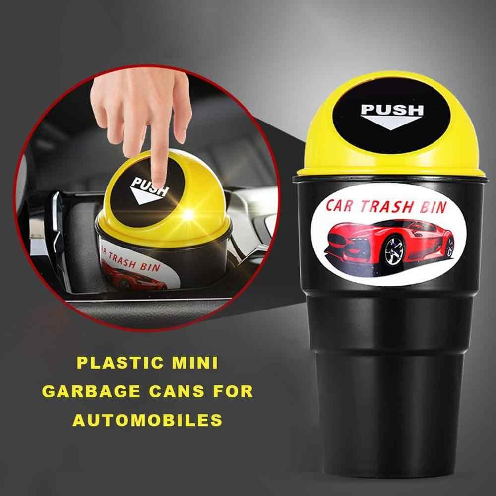 Cubo de basura de coche de moda creativa Mini cubo de basura de plástico para coche multifunción pequeño cubo de almacenamiento de desechos