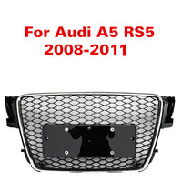 For Audi A5 S5 RS5 08 11 Front Sport Hex Mesh Honeycomb Hood Grill Gloss Black For RS5 Style 2008 2009 2010 2011 Racing Grills