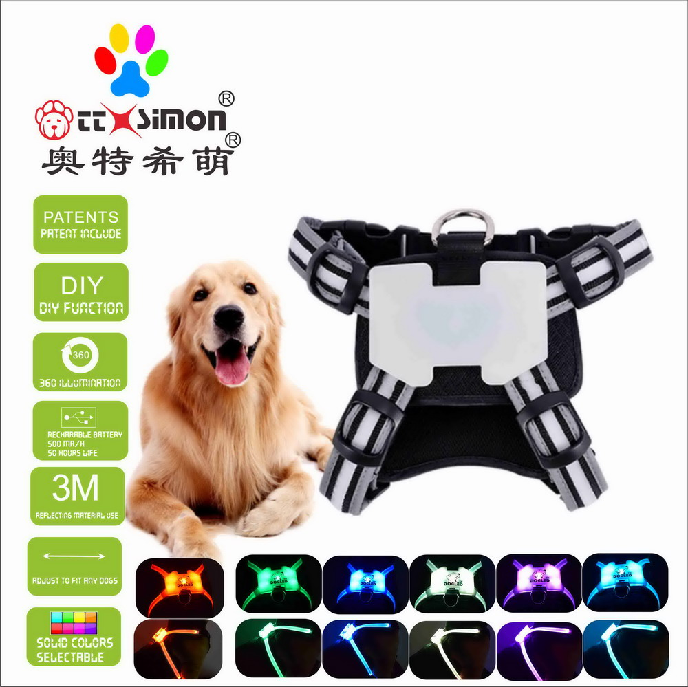 CC Simon Led Dog Harness 7 color in 1 USB RECHARGEABLE