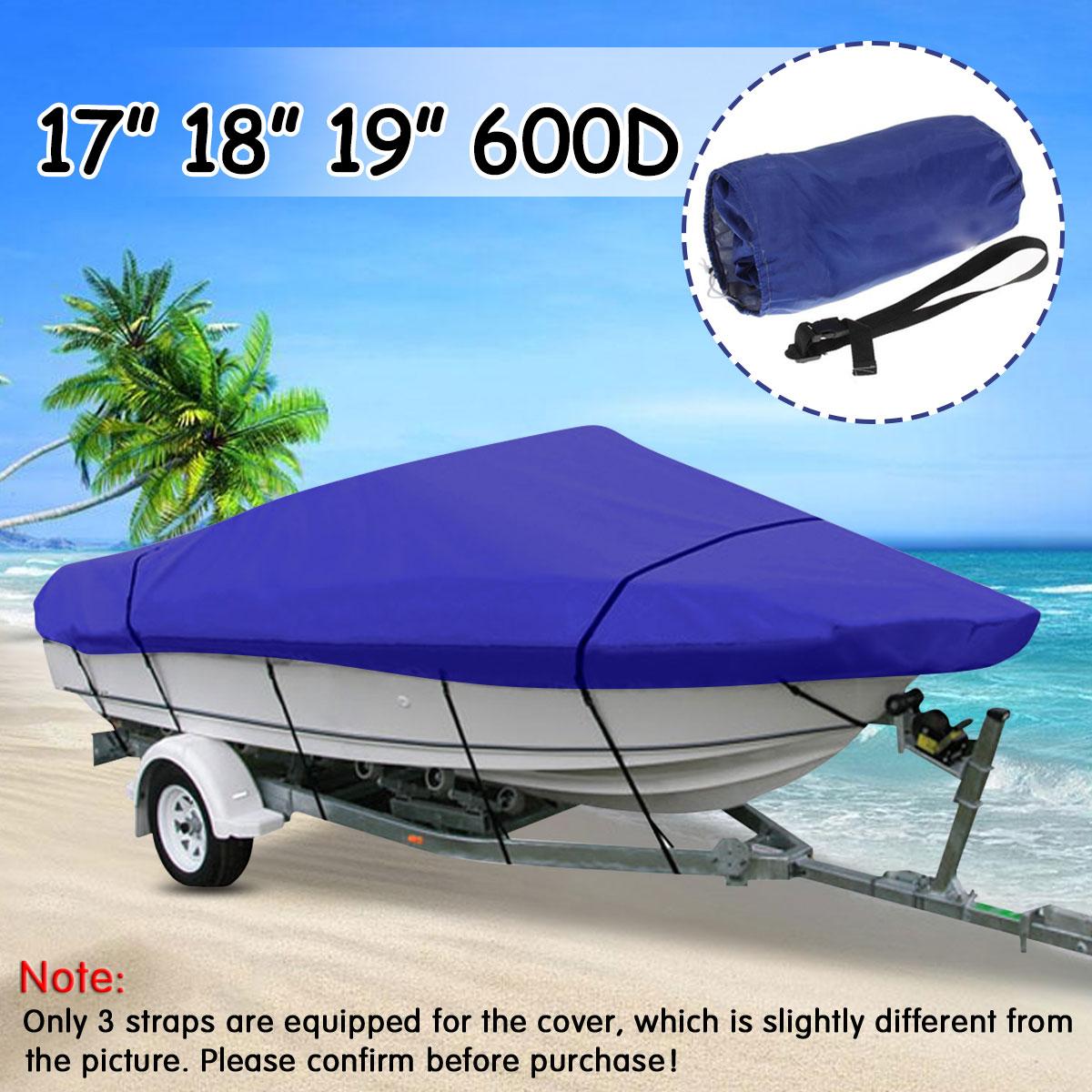 17 18 19ft pêche lourde Ski basse v-coque remorque bateau couverture imperméable pour hors-bord couverture 600D bleu