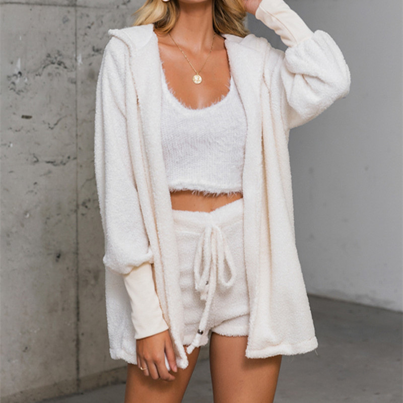 Lounge Wear Sexy Plus Size 3 Piece Set Women Crop Tops Off White Knitted Fleece Cardigan Shorts Ensemble Femme Club Outfits
