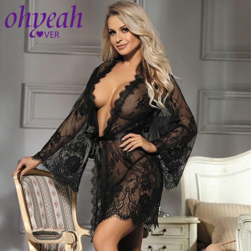 Lingerie Bathrobe Women Erotic Nightgown Plus Size Long Sleeves Floral Sleepwear Sexy Girls See Through Lace Kimono Robe RL80528