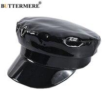 BUTTERMERE Patent Leather Military Style Cap Ladies Black Sailor Hat Woman Captain Cap Autumn Winter High Fashion Hats