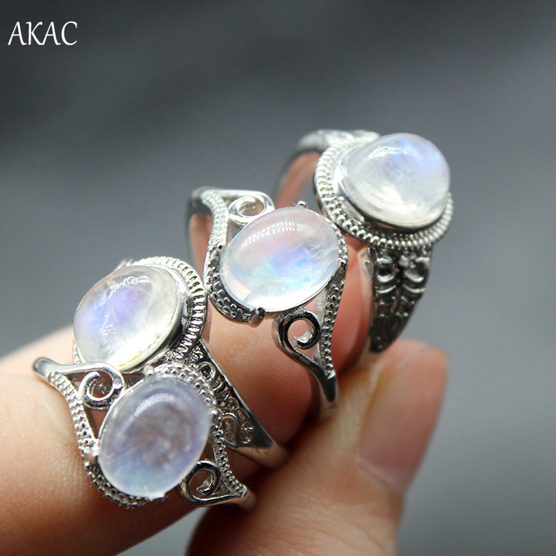 Image 3 - 2rings/set Approx7 9*9 11mm AKAC natural A  rainbow moonstone 
