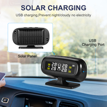 Solar Car Tire Pressure Monitoring System Smart Car Wireless TPMS Display Real-time 4 Tires Pressure &Temperature With 4 Sensors careud t801 nf auto car tpms tire pressure solar panel monitoring system with 4 internal sensors