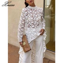 Xnxee Women's Hollowed Lace Blouse Long Sleeve High Neck White Blouse Fashion Runway Shirt Long Hem White Tops 2019