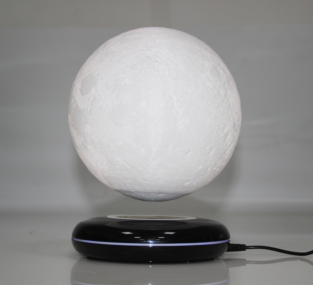 New Invention Gift Office Desk Decoration Magnetic Levitation 8 Inch Moon Globe Black Base  Floating Night Light