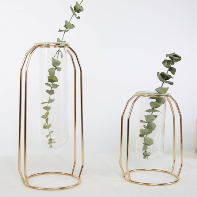 1 Set Nordic Vase With Glass Cuvette Geometric Shape Vase Glass Holder Stand Elegant Vase Decoration Home Bedroom Decor 3