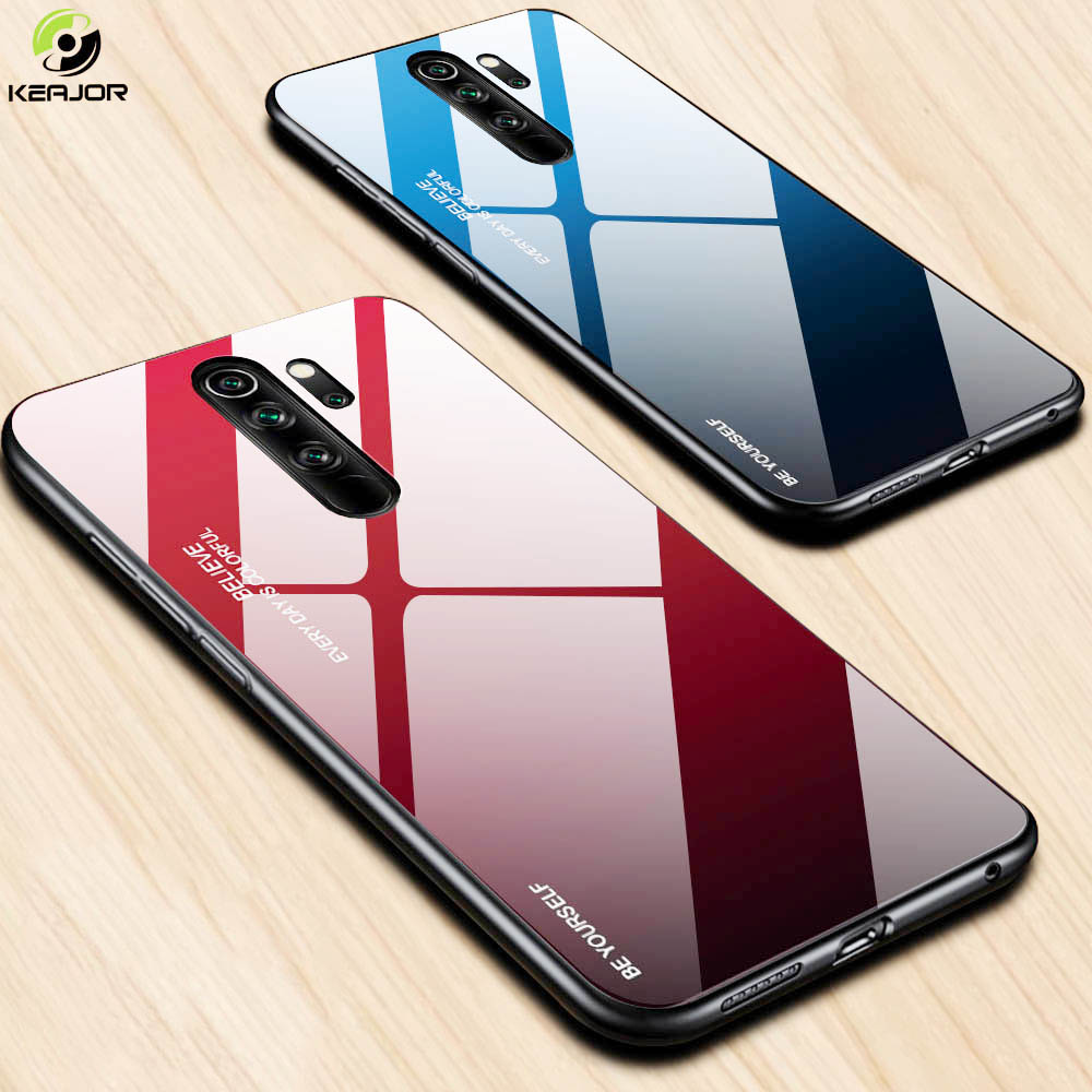 Tempered Glass Case For Xiaomi Redmi Note 8 Pro Case Luxury Gradient Hard Cover Soft Silicon Frame Bumper For Redmi Note 8 Cover-in Fitted Cases from Cellphones & Telecommunications