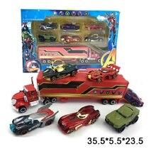 7pcs/set Marvels Figure Toy Avengers Pull Back Cars Truck Captain America Iron Man Hulk Loki Metal Alloy Kids Toy Birthday Gift
