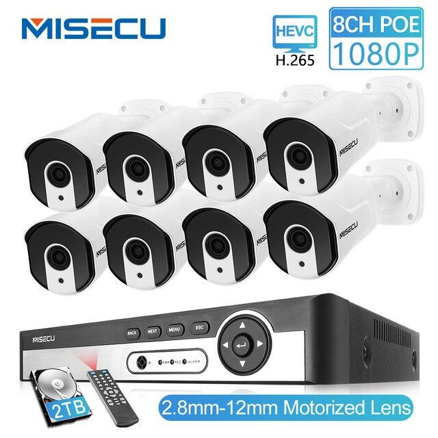 MISECU 8CH 1080P POE güvenlik CCTV sistemi IP kamera 2.8mm 12mm motorlu otomatik zoom objektifi P2P ONVIF gece görüş gözetim kiti