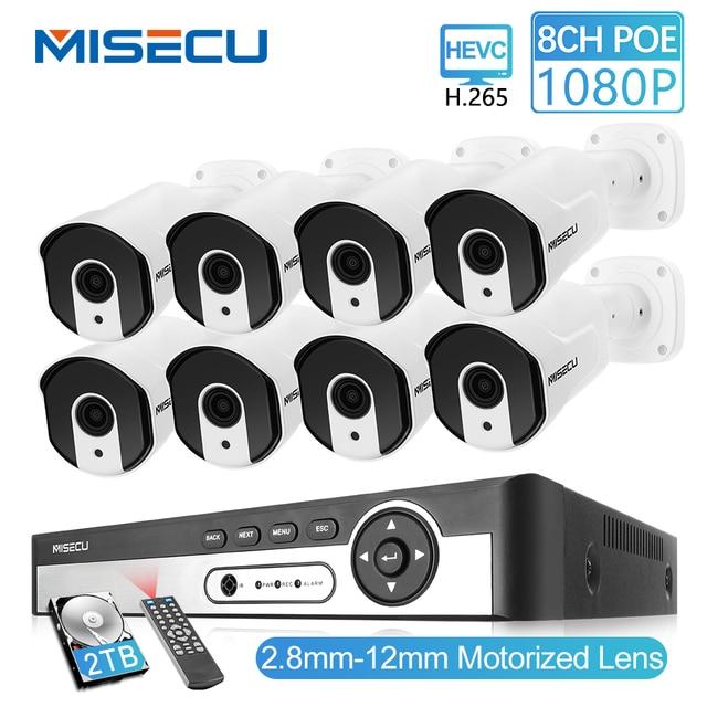 Misecu 8CH 1080P PoE An Ninh Hệ Thống Camera Quan Sát IP 2.8 Mm 12 Mm Cơ Giới Tự Động Zoom P2P onvif Nhìn Xuyên Đêm Giám Sát Bộ
