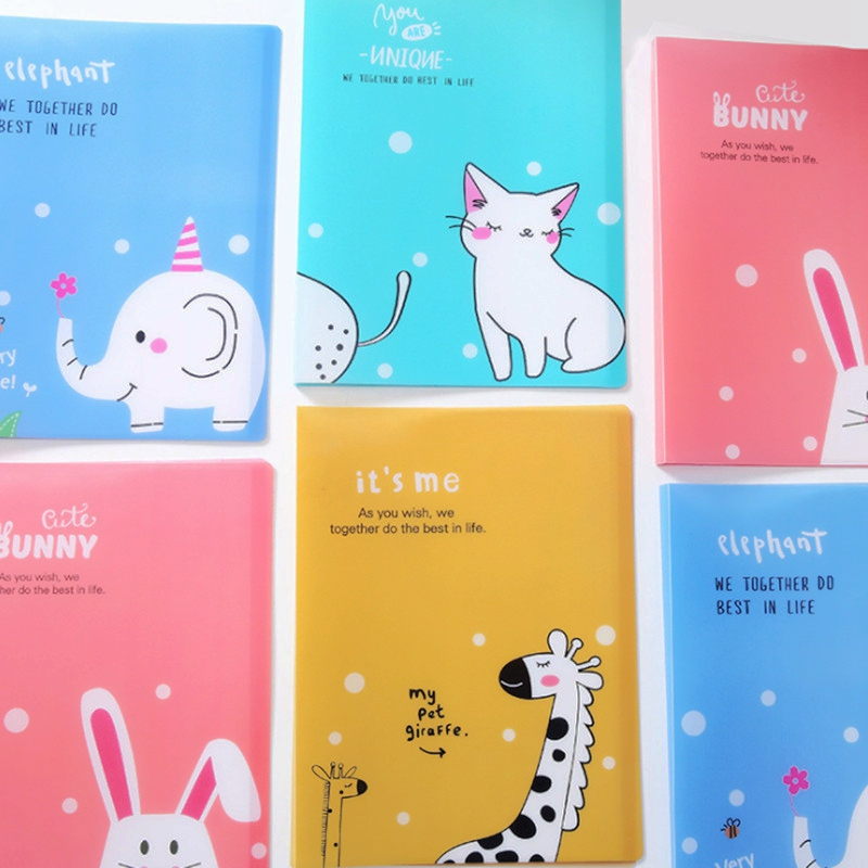 Cute Cartoon A4 File Folders:10/20/40/60 Pages Waterproof Multilayer Insert A4 Document Organizer Kawaii Folders For School