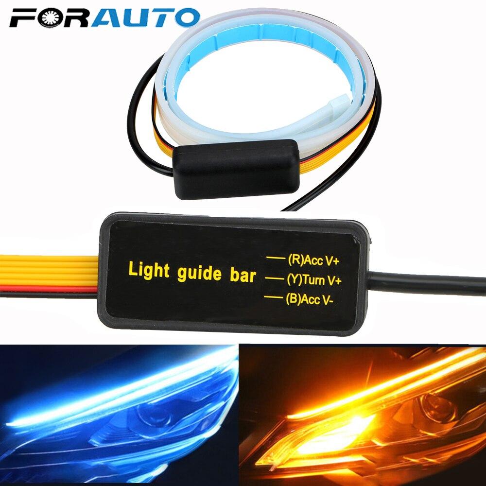 1Pcs Waterproof Flexible Universal Car Led DRL Daytime Running Light Flow Runs Headlight LED Strip Brake Turn Signal Lights