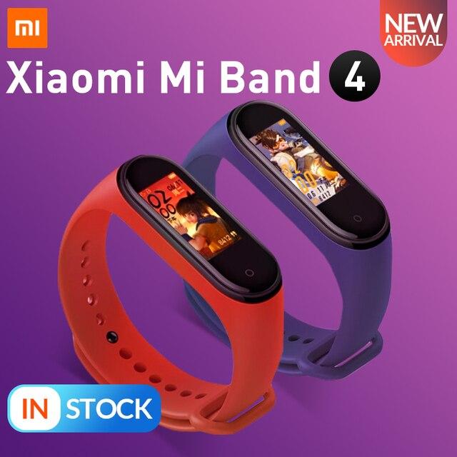 Stokta orijinal Xiaomi Mi Band 4 akıllı renkli ekran akıllı bilezik kalp hızı spor 135mAh Bluetooth 5.0 50M yüzme su geçirmez
