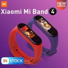 W magazynie oryginalny Xiaomi Mi Band 4 inteligentny kolorowy ekran bransoletka tętno Fitness 135mAh Bluetooth 5.0 50M pływanie wodoodporne