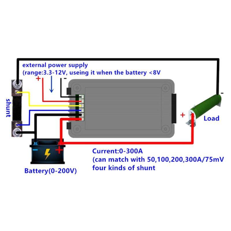 Постоянного тока 0-200В 50А/100А/200А/300А батарея тестер монитор напряжение ток сопротивление емкость Вт Ампер энергии метр время