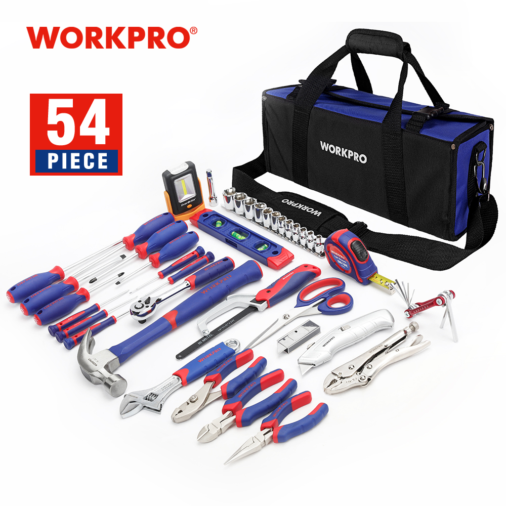 WORKPRO 54PC Household Tool Set Screwdriver Set Electrical Tool Bag Home Tools