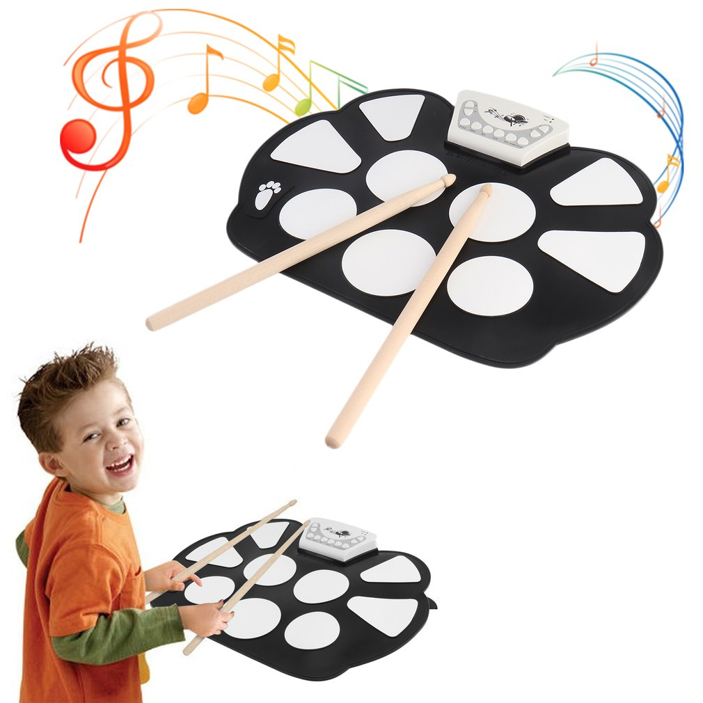 TSAI New Electronic Drum Pad Portable USB Charging Roll Up Drum Pad With Drum Sticks Foldable Practice Instrument Black NewStyle