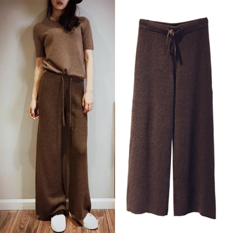 Autumn Winter New Pants Women Soft Waxy Comfortable Cashmere Pants Knitted Wide Leg Pants Baggy Pants Women Winter Pants Women