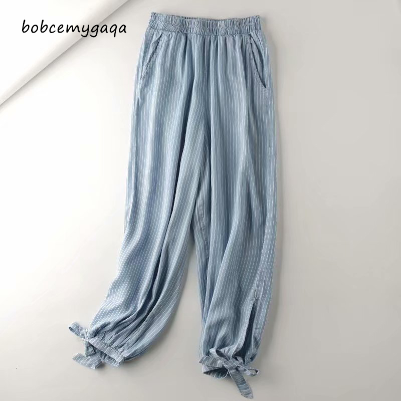 Soft Denim Harem Pants Blue Light Blue Jeans Loose Palazzo Pants Elastic Waist Casual  Plus Size Spring Summer Striped Pants