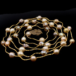 Image 4 - Free Shipping Lavender Edsion FW Pearl Beads Gold Color Leaf Clasp Lady Jewelry Statement Necklace 9 10mm 60""