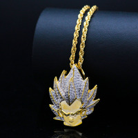Personalized Anime Super Saiyan Sun Wukong Pendant Necklaces Men Punk Hip Hop Jewelry Fashion Copper AAA Zircon Necklace Gifts