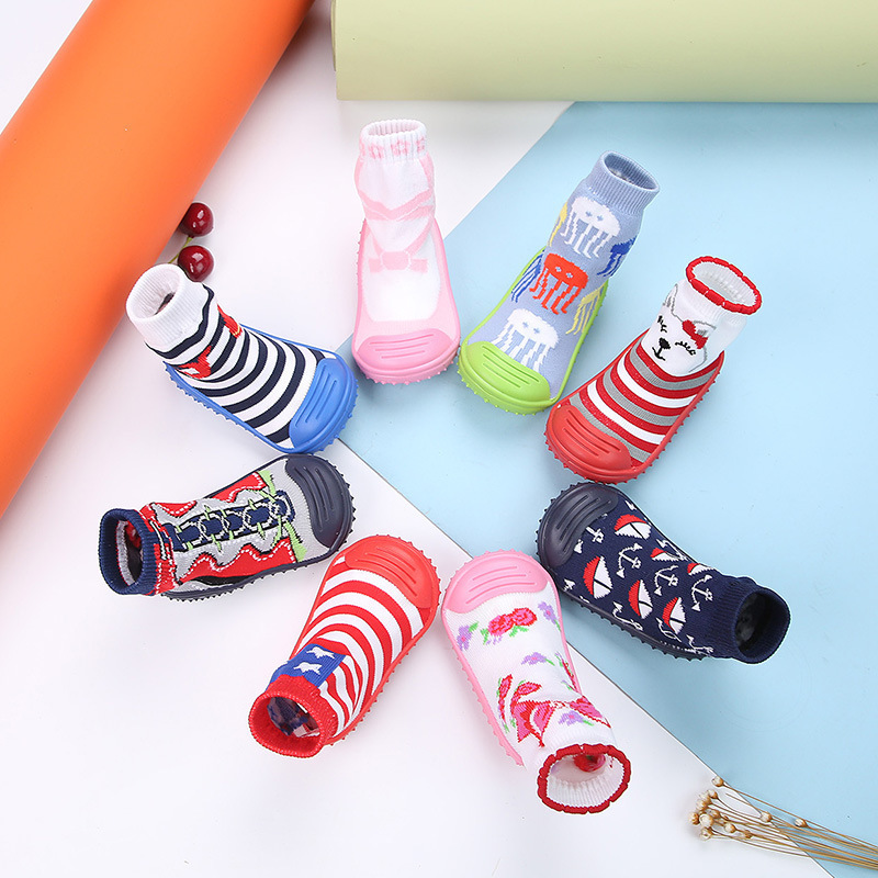 Newborn Baby Girl Boy Cotton Socks Shoes Non-slip Rubber Sole Socks Baby Floor Socks Shoes Baby Toddler Shoes Anti-slip Socks