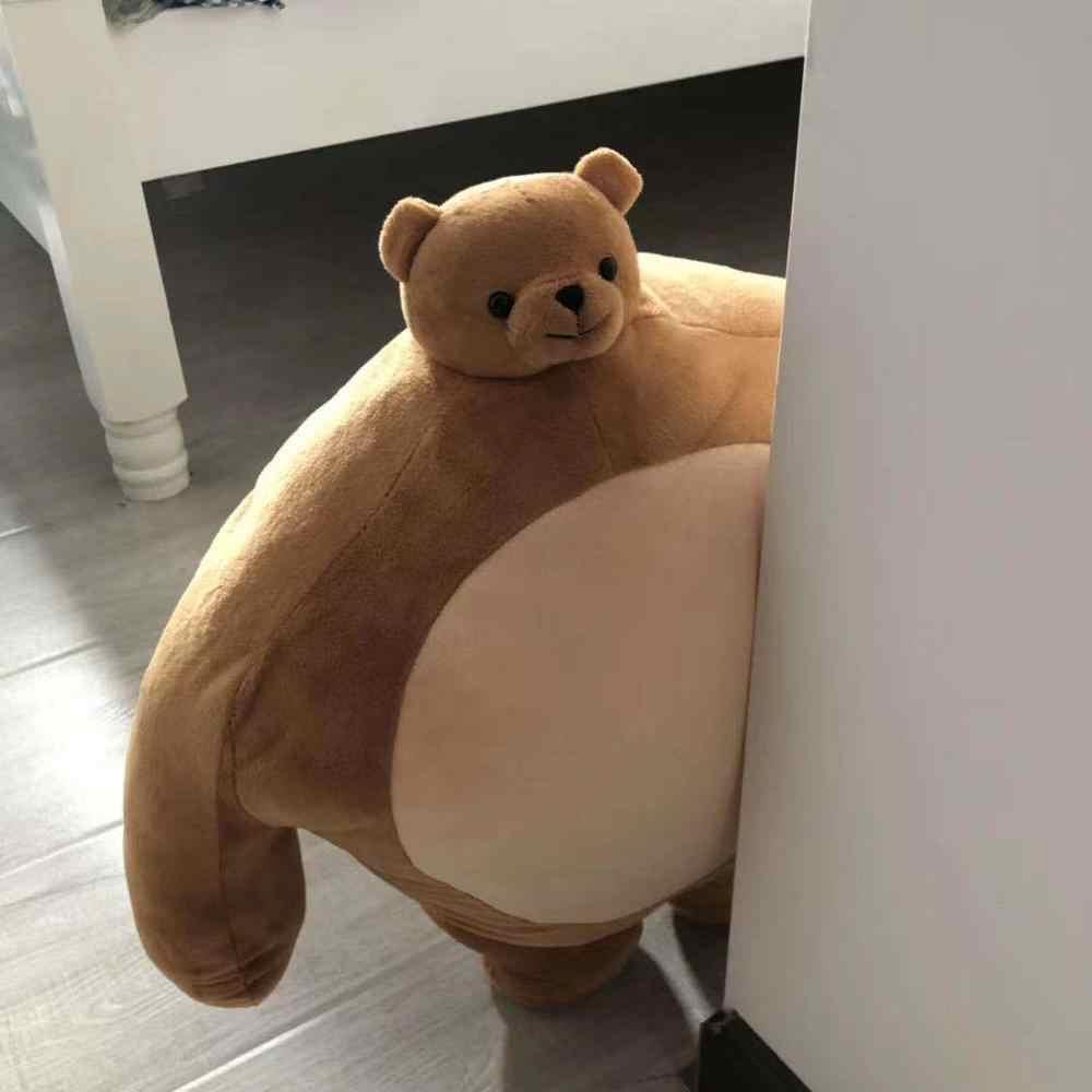 ins hot tiny head teddy bear pillow small head stuffed panda bear sloth muscle body boyfriend hug pillow cushion birthday gift