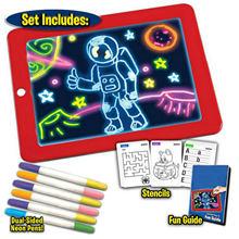 LCD escritura dibujo Doodle de la placa de la tableta Pad con luz 6 uds plumas 10 Uds tarjetas de gráficos para los niños regalo de Navidad de cumpleaños
