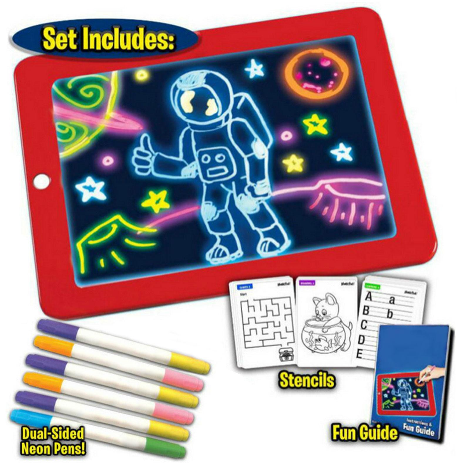 Lcd escrevendo desenho doodle tablet placa almofada com luz 6 pçs canetas 10 pces placas gráficas para crianças aniversário presente de natal