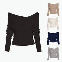 Зимние теплые модные женские свитера с длинным рукавом и открытыми