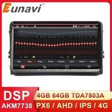 Eunavi 2 דין רכב רדיו סטריאו multimeida עבור פולקסווגן פאסאט B6 CC פולו גולף 5 6 טוראן ג טה Tiguan Magotan מושב אנדרואיד GPS לא DVD