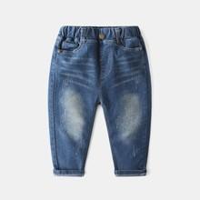 Moda dla dzieci chłopców dżinsy spodnie dla dzieci ubrania Denim dorywczo dzieci dziura podarte dżinsy spodnie dla chłopców kowbojskie ubrania 4-14 lat tanie tanio DZIECKO Na co dzień Pasuje prawda na wymiar weź swój normalny rozmiar xiailebaby Elastyczny pas Unisex Stałe Luźne