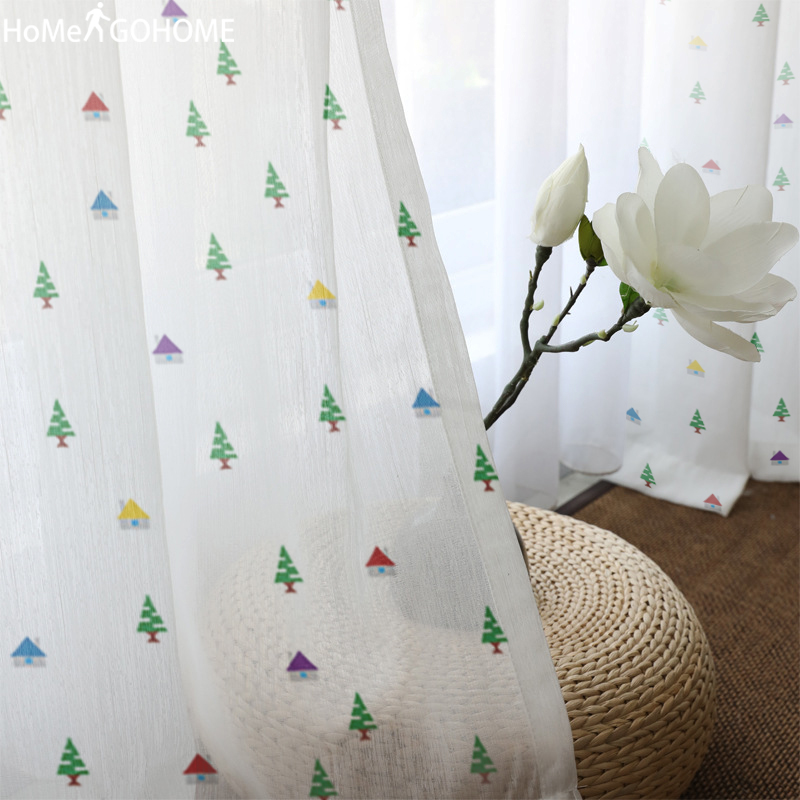 3D Tulle Curtains For Living Room Modern Luxury Sheer Curtains Double Room Bedroom Kitchen Window Voile Curtains Christmas Trees