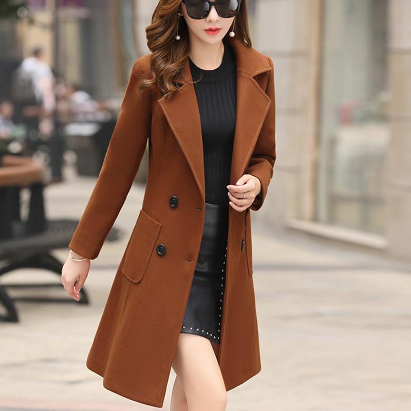 Outerwear Overcoat Autumn Jacket Casual Women New Fashion Long Woolen Coat Single Breasted Slim Type Female Winter Wool Coats