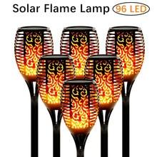 33/96 lámpara LED de llama Solar, luces de antorcha para exteriores, luz de jardín, luces parpadeantes impermeables para decoración de jardín automática al atardecer