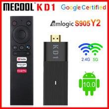 Mecool – clé TV connectée KD1, Android 10.0, UHD, 4K, Amlogic S905Y2, 2 go/16 go, double WiFi, lecteur multimédia, Dongle TV, certifié Google