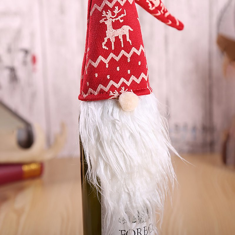 Christmas Party Decoration Woodsman  Restaurant Wine Bottle Cover Gift Bag Champagne Wine Cover Wine Bag