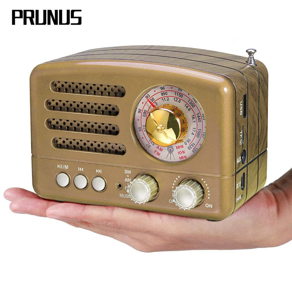 Prunus portátil am/fm/rádio recarregável de ondas curtas retro alto-falante bluetooth suporta tf cartão/aux/usb mp3 player
