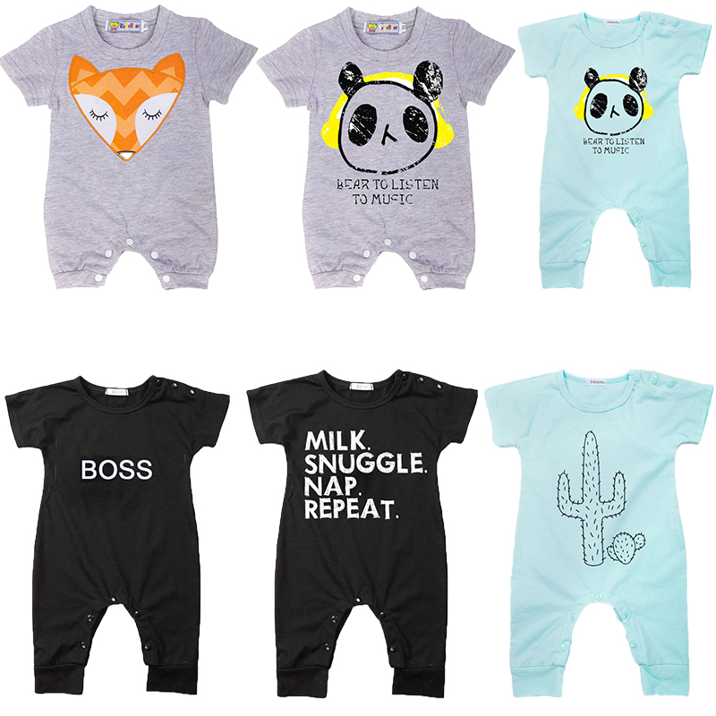 Newborn Baby Romper 2020 New Summer Short Sleeve Cotton Boutique Infant Boy Jumpsuit Lovely Cartoon/Letters Printed Baby Overall