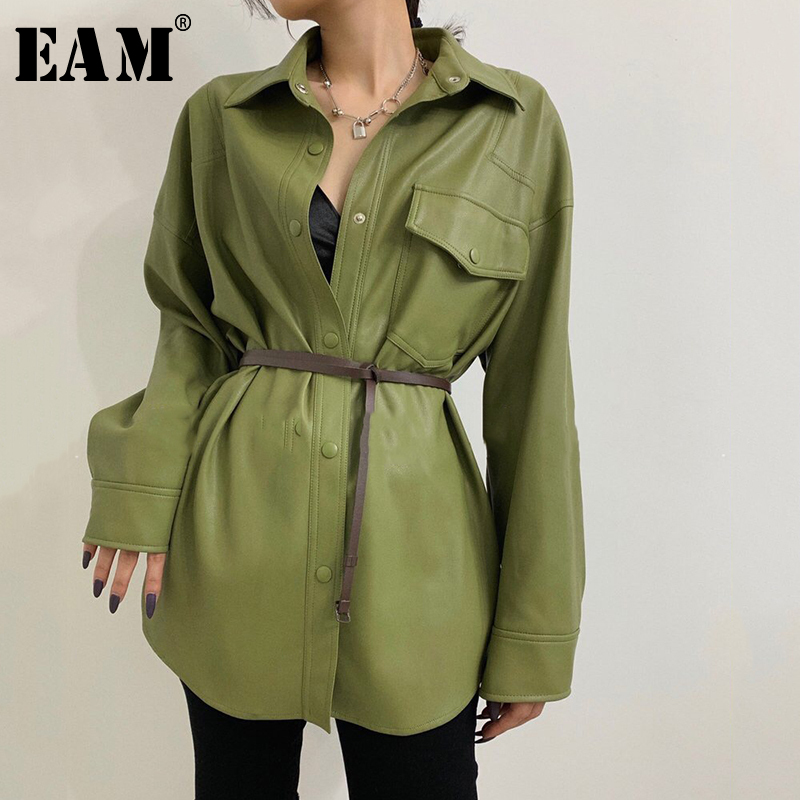 [EAM] Loose Fit Green Pu Leather Big Size Leisure Jacket New Lapel Long Sleeve Women Coat Fashion Tide Spring Autumn 2020 1X489 1