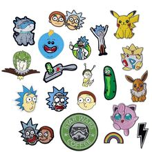 1Pcs Rainbow Pikachu Rick and Morty Patch Embroidered Applique Iron On design DIY Sew Badge fill holes